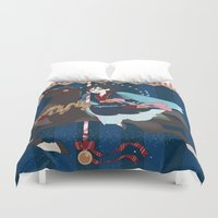 dark side of the moon Duvet Covers featuring Carousel: The Dark Side of the Moon by Lettie Bug