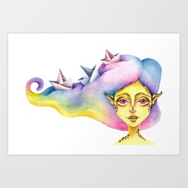 """""""Rainbow hair"""" Art Print"""