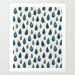 Raindrops Pattern - Navy Blue on White Art Print