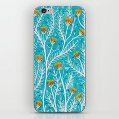 Tiny Moth Garden Pattern - Teal iPhone & iPod Skin