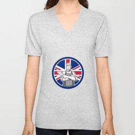 British Butcher Front Union Jack Flag Icon Unisex V-Neck