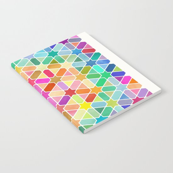 Rainbow Honeycomb with Stars Notebook