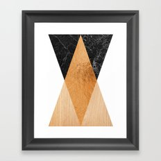 Copper Marble Triangles Framed Art Print