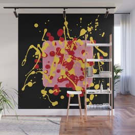 Paint Dance Pink Square Yellow Red on Black Wall Mural