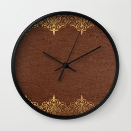 Brown leather texture gold frame Wall Clock