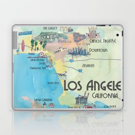 Greater Los Angeles Fine Art Print Retro Vintage Map with Touristic Highlights in colorful retro pri Laptop & iPad Skin