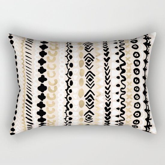 Black, White & Gold Tribal Rectangular Pillow