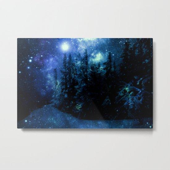 Galaxy Winter Forest Deep Blue Green Metal Print