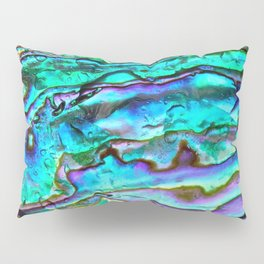 Glowing Aqua Abalone Shell Mother of Pearl Pillow Sham