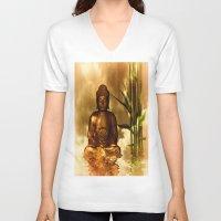 meditation V-neck T-shirts featuring Meditation by DagmarMarina