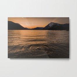 Mountain Lake Sunset Reflections Nature Photography Metal Print