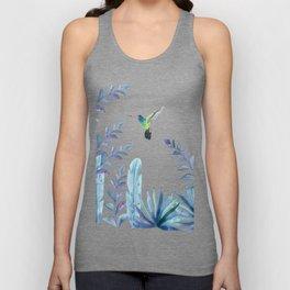 Hummingbird with tropical foliage Unisex Tank Top