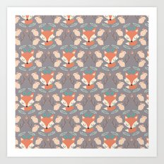 Foxes and rabbits Art Print
