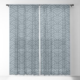 Blue Indigo Denim Waves Sheer Curtain