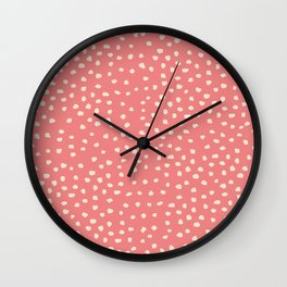 Dots _Coral Pink & White Wall Clock
