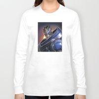 garrus Long Sleeve T-shirts featuring Garrus Vakarian Portrait - Mass Effect by MarcoMellark