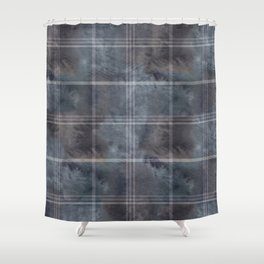 Felted Plaid Moody Blue Shower Curtain