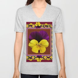 MAROON PURPLE & YELLOW SPRING PANSIES  GARDEN Unisex V-Neck