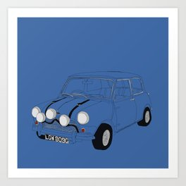 The Italian Job Blue Mini Cooper Art Print