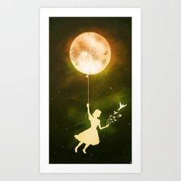 Girl with the Moon Art Print