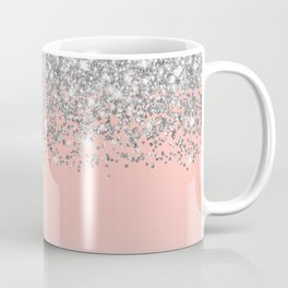 Girly Chic Silver Confetti Pink Gradient Ombre Coffee Mug