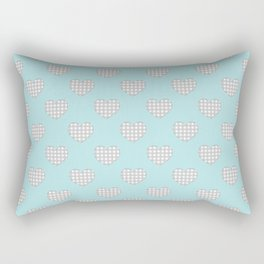 Gingham Hearts in Gray and White on Turquoise Rectangular Pillow