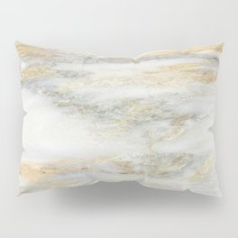 White Gold Marble Texture Pillow Sham
