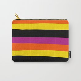 Uneven Stripes - Black, Pink, Orange and Yellow Carry-All Pouch