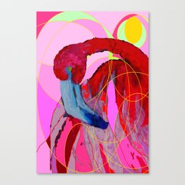 Contemporary Abstracted Tropical Flamingo Art Canvas Print