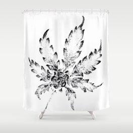 Black & White (Cannabis Resin Leaf) Shower Curtain