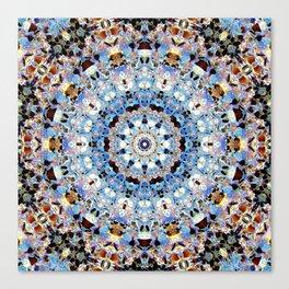 Blue Brown Folklore Texture Mandala Canvas Print