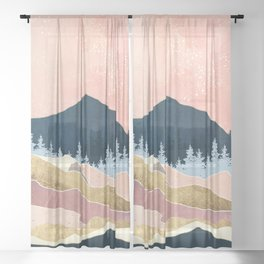 Coral Sunset Sheer Curtain