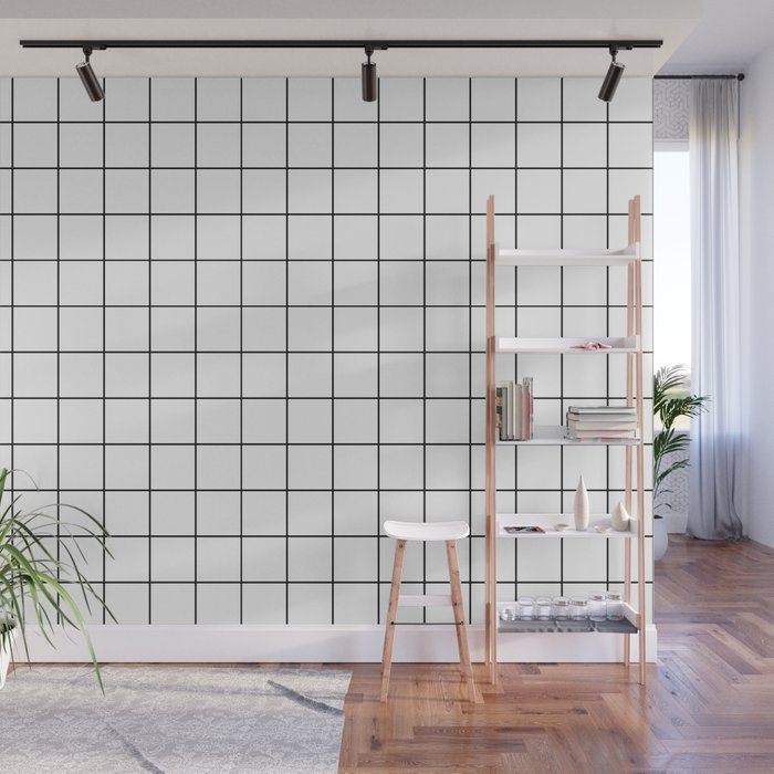 Grid Simple Line White Minimalist Wall Mural