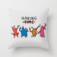 keith haring Throw Pillows featuring Haring Time2 by le.duc