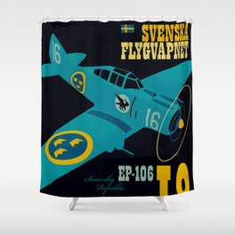 Swedish EP-106 airplane poster ShreddyStudio Dennis Weber Shower Curtain