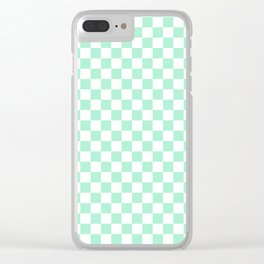 White and Magic Mint Green Checkerboard Clear iPhone Case