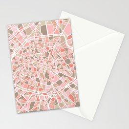 Paris City Map Art Stationery Cards