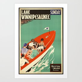 Lake Winnipesaukee - Vintage Poster Art Print