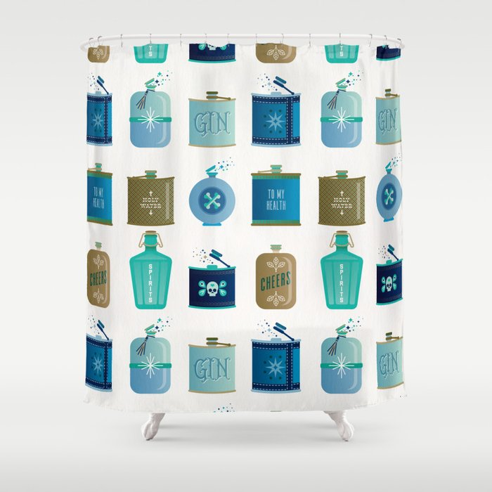 Flask Collection Blue And Tan Palette Shower Curtain