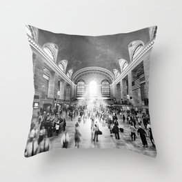 Grand Central Daylight (classic black & white edition) Throw Pillow