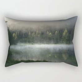 Magic Misty Lake. Amazing shot of a wooden house in the Ferchensee lake in Bavaria, Germany, in front of a mountain belonging to the Alps. Scenic foggy morning scenery at sunrise. Rectangular Pillow