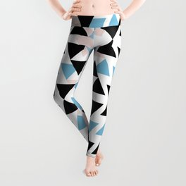 pink black and blue triangle mosaic pattern Leggings