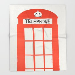 Red London Telephone Box Throw Blanket