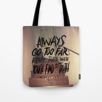camus Tote Bags featuring Camus on Finding the Truth by Josh LaFayette
