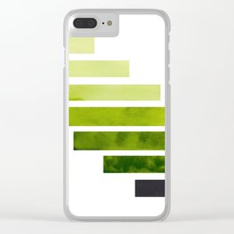 Sap Green Midcentury Modern Minimalist Staggered Stripes Rectangle Geometric Pattern Watercolor Art Clear iPhone Case