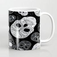 sugar skulls Mugs featuring Sugar Skulls by Zen and Chic