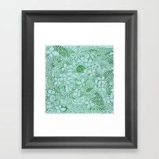 Blue square, green floral doodle, zentangle inspired art pattern Framed Art Print