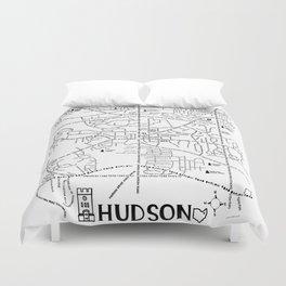 Hudson Ohio Map Duvet Cover