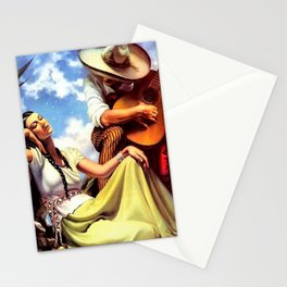 Love and Spanish Guitar (tocaores) in the Sonoran Desert, Señorita romantic portrait painting Stationery Cards