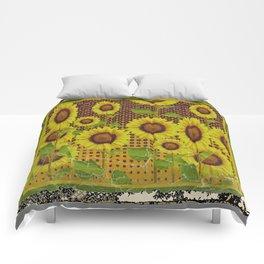 GRUBBY WORN BROWN SUNFLOWERS ART Comforters